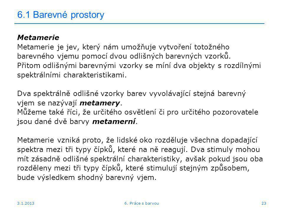 6.1 Barevné prostory Metamerie