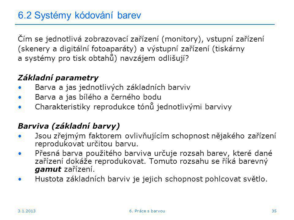 6.2 Systémy kódování barev