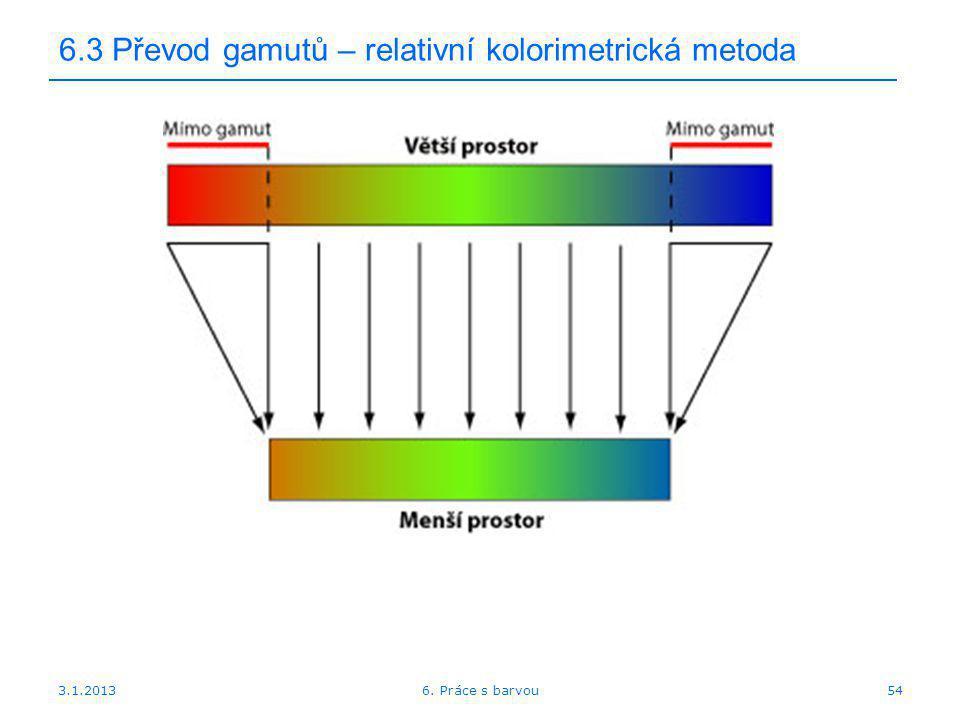 6.3 Převod gamutů – relativní kolorimetrická metoda