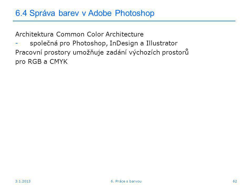 6.4 Správa barev v Adobe Photoshop