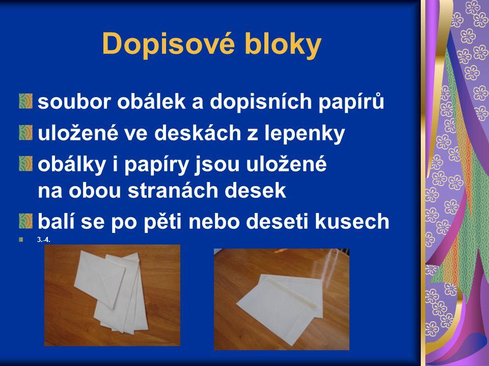 Dopisové bloky soubor obálek a dopisních papírů