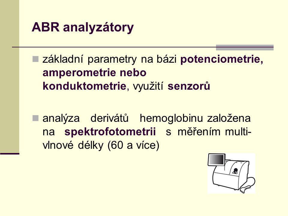 ABR analyzátory základní parametry na bázi potenciometrie, amperometrie nebo konduktometrie, využití senzorů.