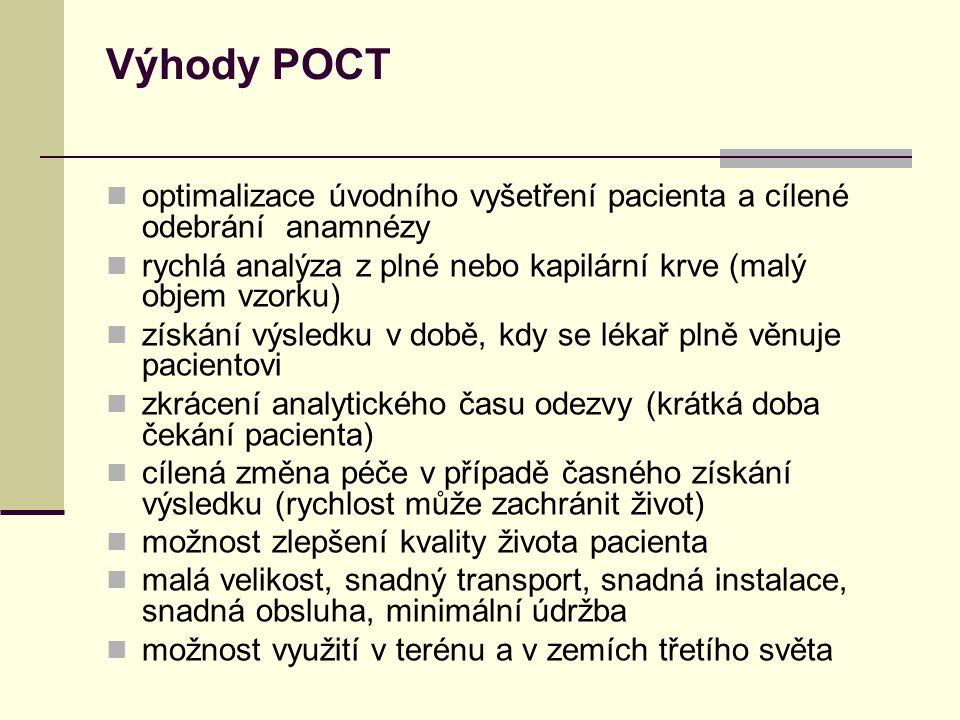 Výhody POCT optimalizace úvodního vyšetření pacienta a cílené odebrání anamnézy. rychlá analýza z plné nebo kapilární krve (malý objem vzorku)