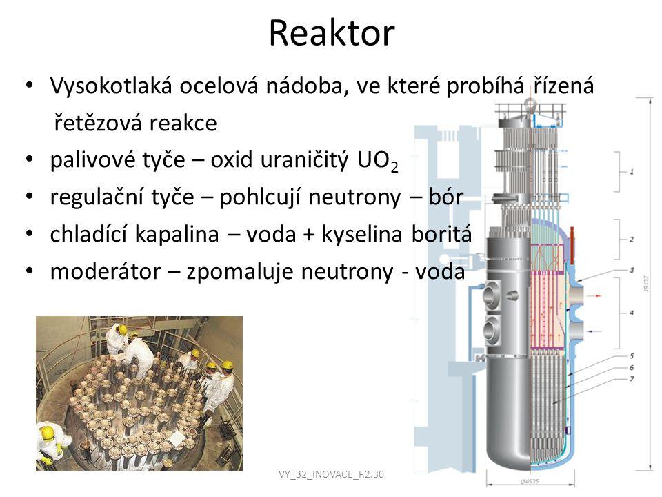 Reaktor Vysokotlaká ocelová nádoba, ve které probíhá řízená