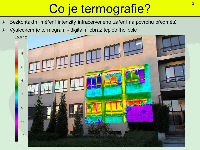 Co je termografie 2. Bezkontaktní měření intenzity infračerveného záření na povrchu předmětů.