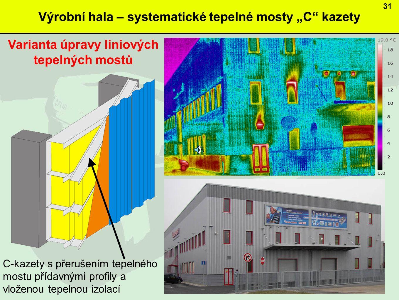 """Výrobní hala – systematické tepelné mosty """"C kazety"""