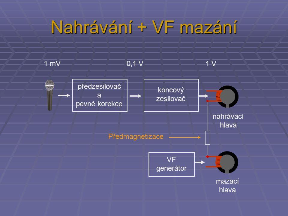 Nahrávání + VF mazání 1 mV 0,1 V 1 V předzesilovač a koncový