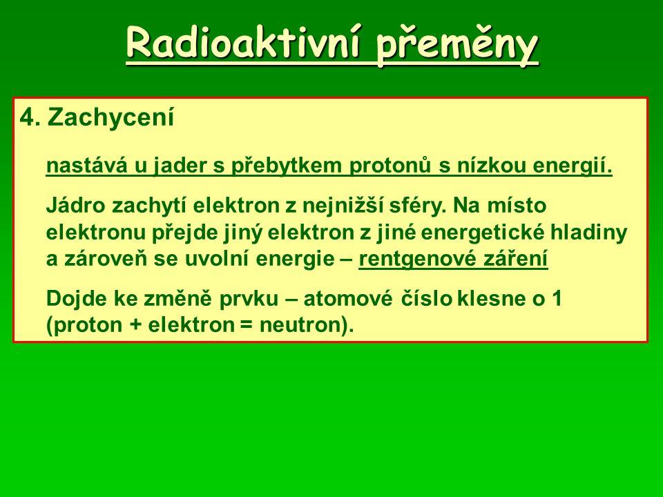 Radioaktivní přeměny 4. Zachycení