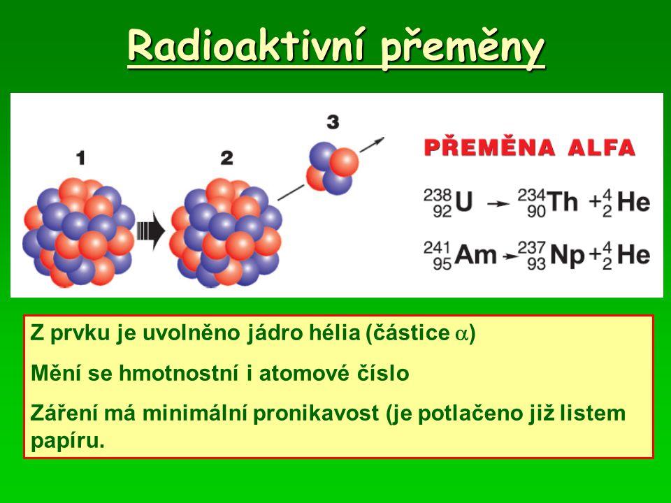 Radioaktivní přeměny Z prvku je uvolněno jádro hélia (částice )