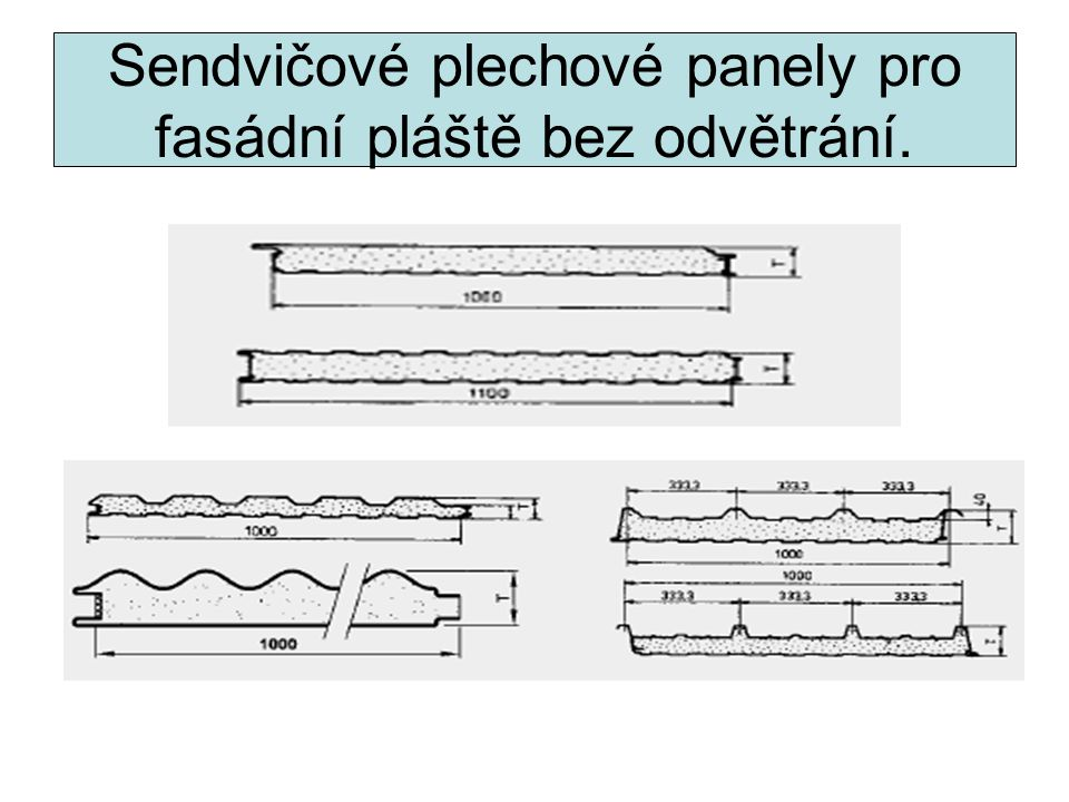 Sendvičové plechové panely pro fasádní pláště bez odvětrání.