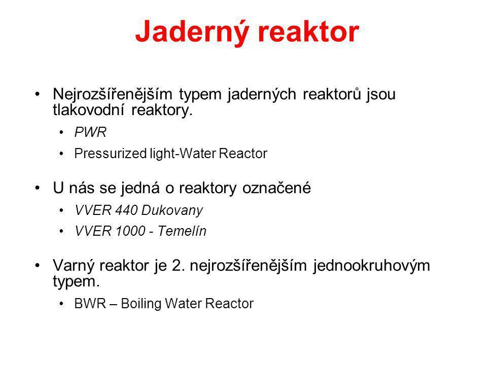 Jaderný reaktor Nejrozšířenějším typem jaderných reaktorů jsou tlakovodní reaktory. PWR. Pressurized light-Water Reactor.