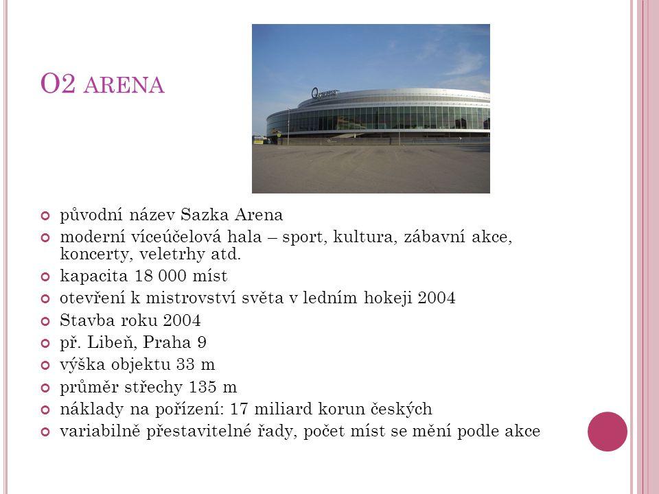 O2 arena původní název Sazka Arena