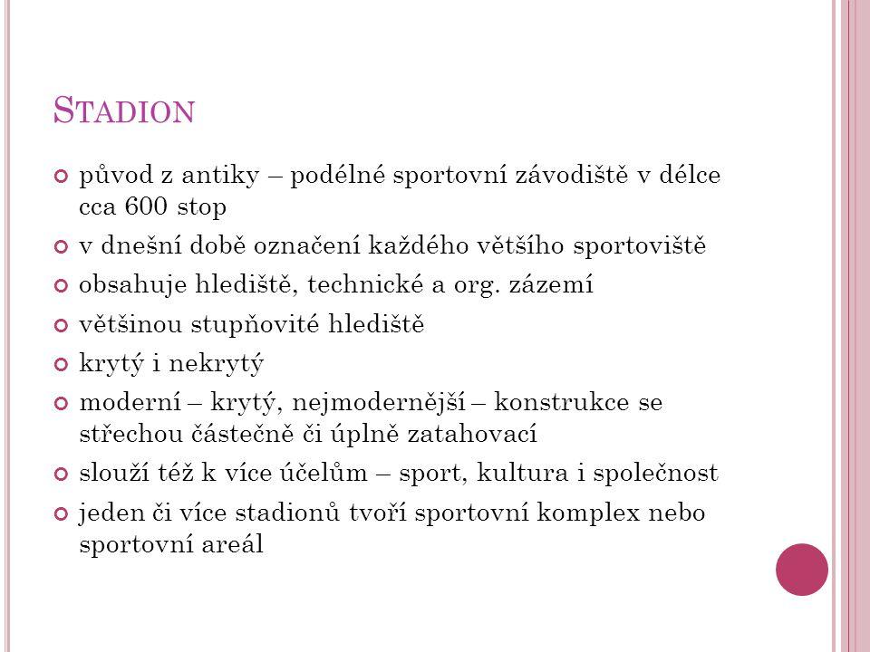 Stadion původ z antiky – podélné sportovní závodiště v délce cca 600 stop. v dnešní době označení každého většího sportoviště.