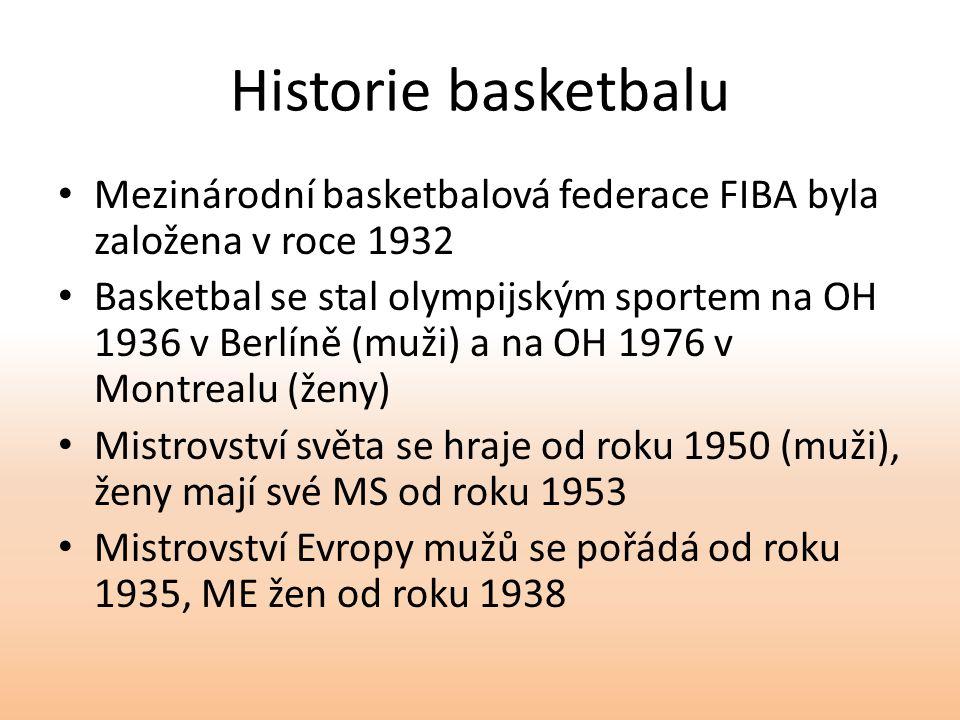 Historie basketbalu Mezinárodní basketbalová federace FIBA byla založena v roce 1932.