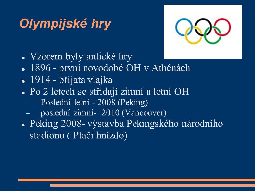 Olympijské hry Vzorem byly antické hry