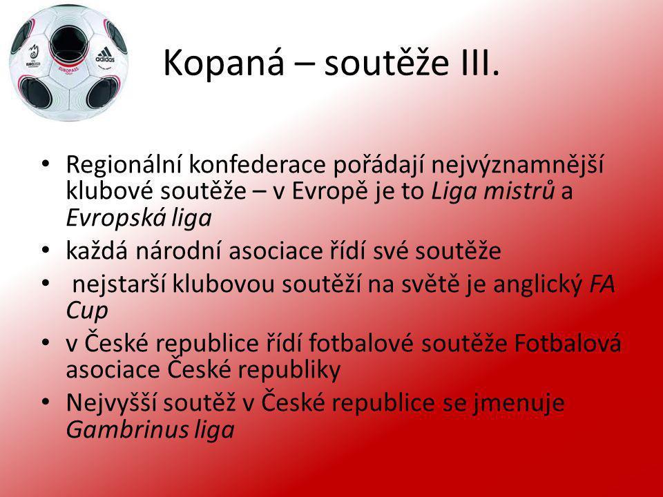 Kopaná – soutěže III. Regionální konfederace pořádají nejvýznamnější klubové soutěže – v Evropě je to Liga mistrů a Evropská liga.