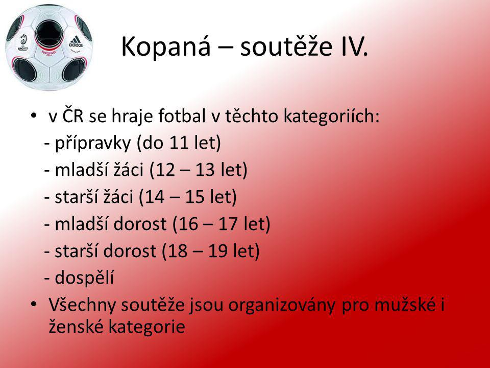 Kopaná – soutěže IV. v ČR se hraje fotbal v těchto kategoriích: