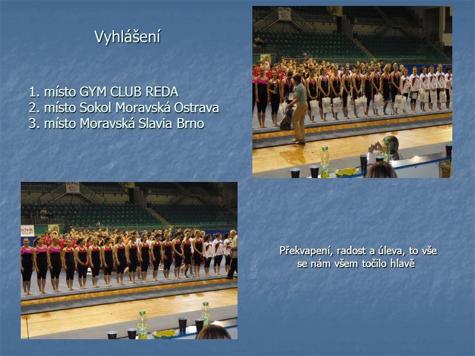 Vyhlášení 1. místo GYM CLUB REDA 2. místo Sokol Moravská Ostrava 3