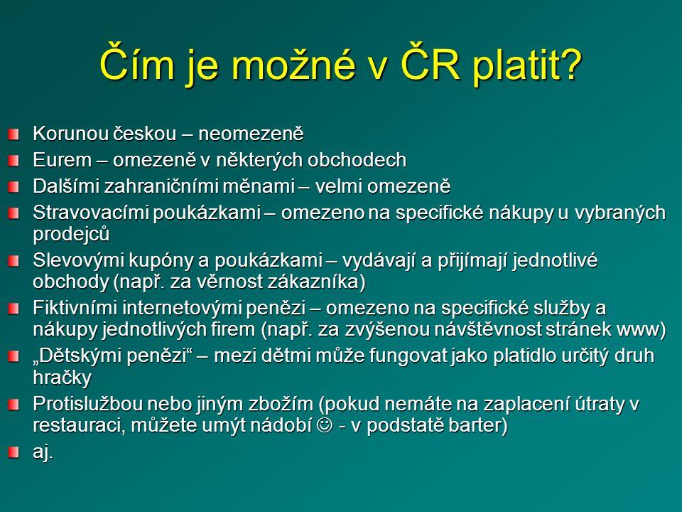 Čím je možné v ČR platit Korunou českou – neomezeně