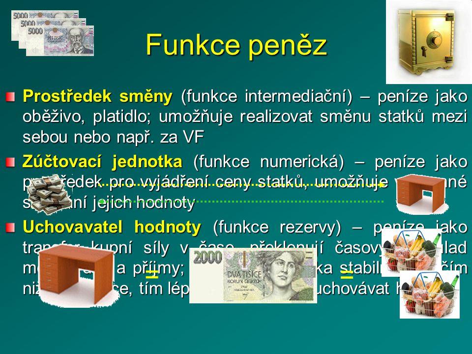 Funkce peněz Prostředek směny (funkce intermediační) – peníze jako oběživo, platidlo; umožňuje realizovat směnu statků mezi sebou nebo např. za VF.