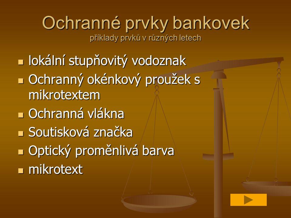 Ochranné prvky bankovek příklady prvků v různých letech