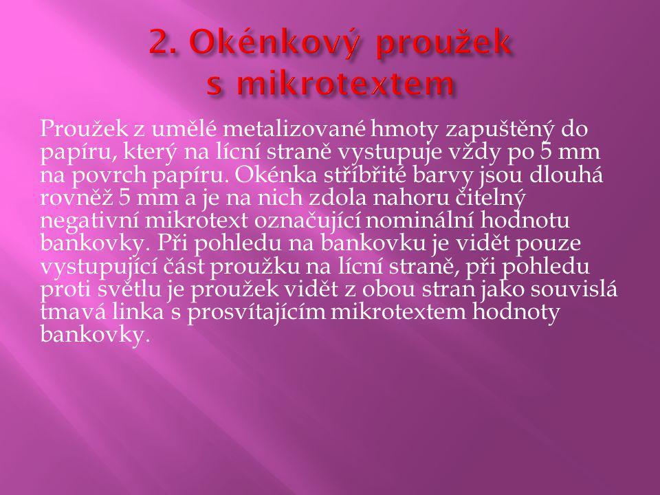 2. Okénkový proužek s mikrotextem