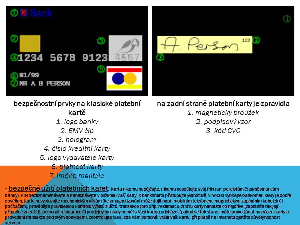 bezpečnostní prvky na klasické platební kartě
