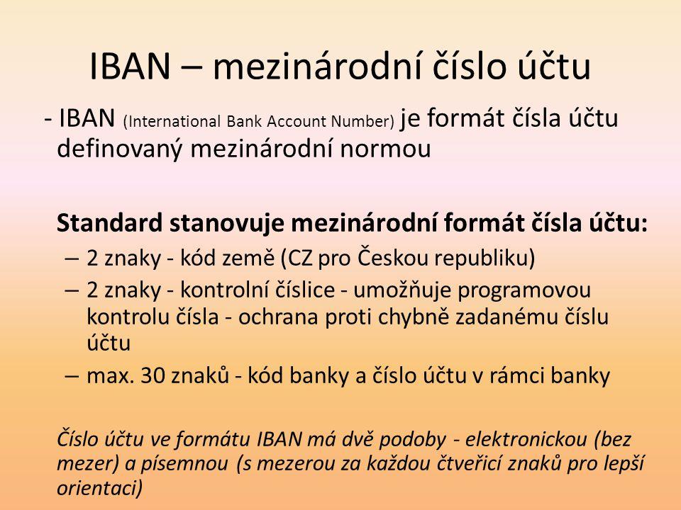 IBAN – mezinárodní číslo účtu
