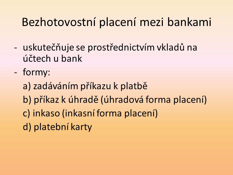 Bezhotovostní placení mezi bankami