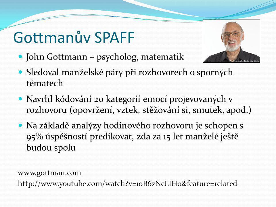 Gottmanův SPAFF John Gottmann – psycholog, matematik