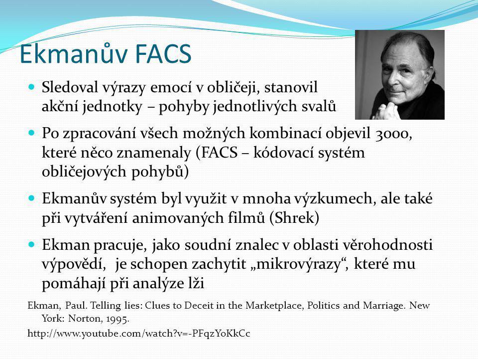 Ekmanův FACS Sledoval výrazy emocí v obličeji, stanovil akční jednotky – pohyby jednotlivých svalů.