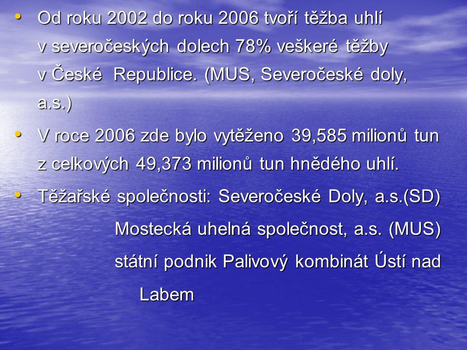 Od roku 2002 do roku 2006 tvoří těžba uhlí v severočeských dolech 78% veškeré těžby v České Republice. (MUS, Severočeské doly, a.s.)
