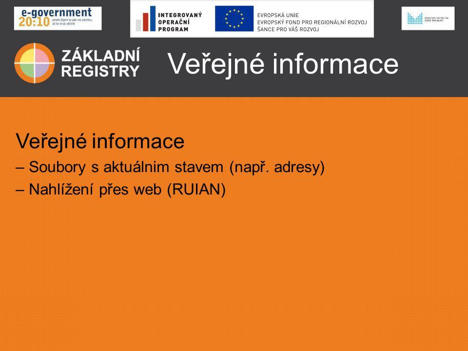 Veřejné informace Veřejné informace