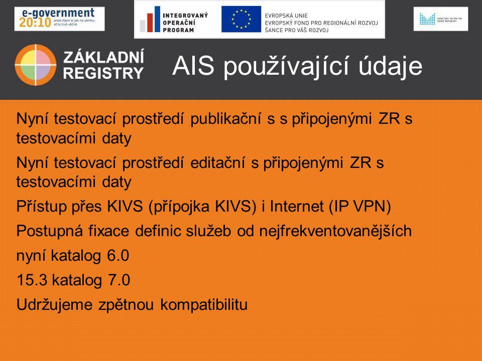 AIS používající údaje Nyní testovací prostředí publikační s s připojenými ZR s testovacími daty.