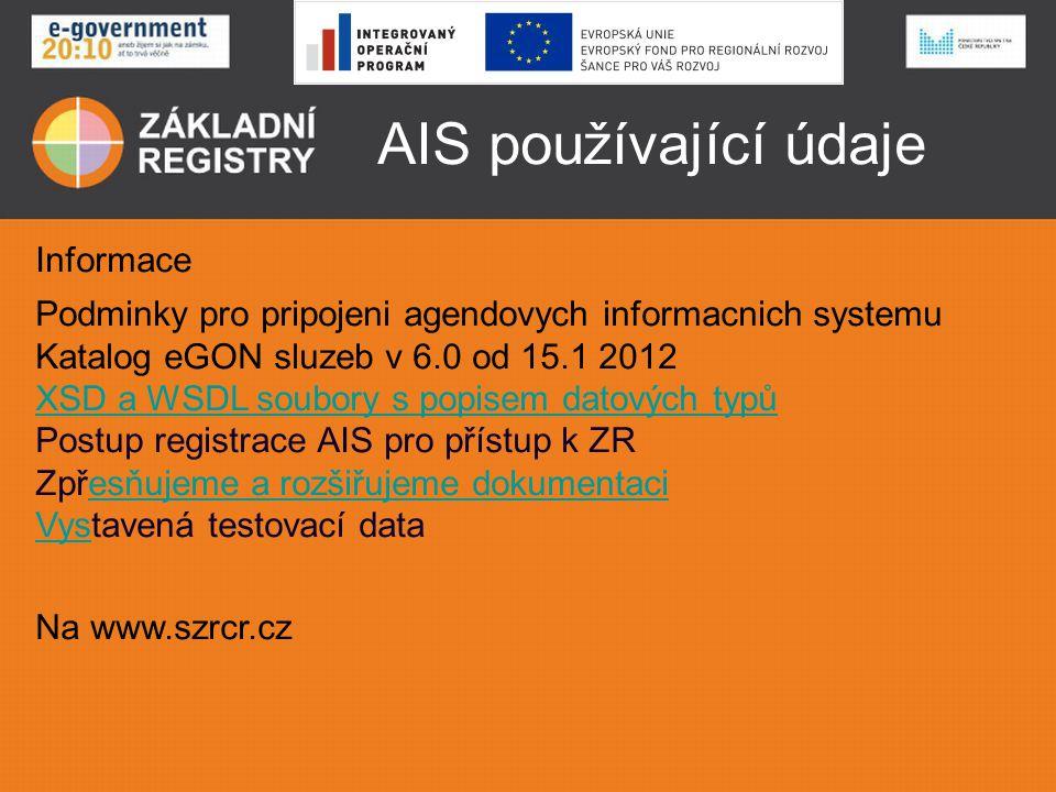 AIS používající údaje Informace