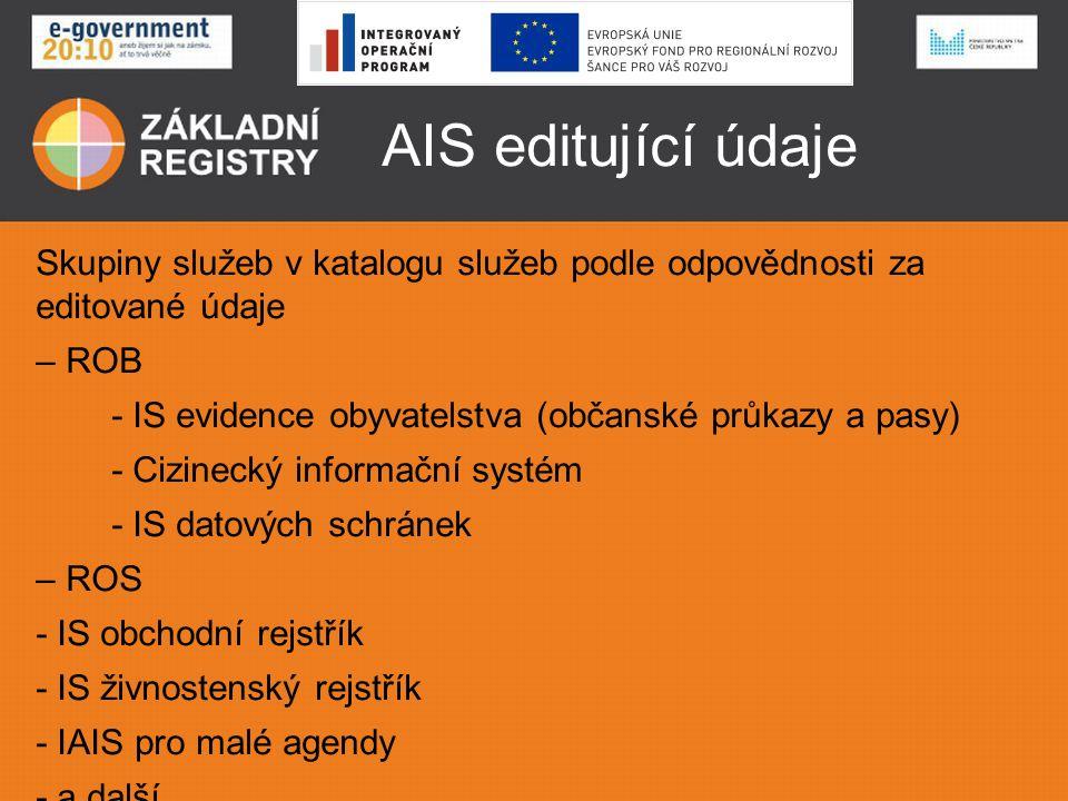 AIS editující údaje Skupiny služeb v katalogu služeb podle odpovědnosti za editované údaje. ROB.