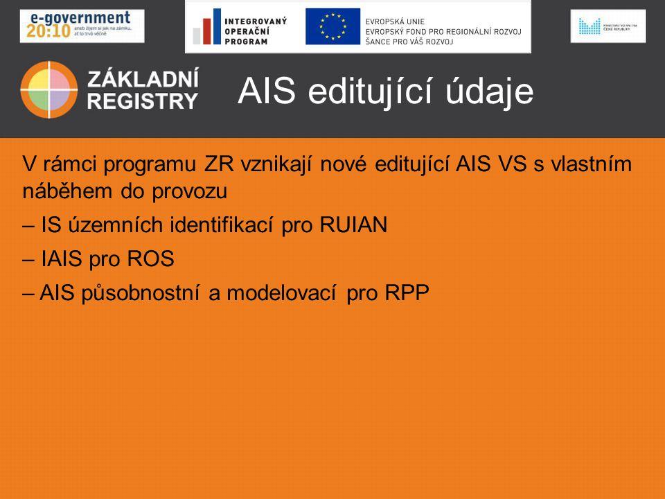 AIS editující údaje V rámci programu ZR vznikají nové editující AIS VS s vlastním náběhem do provozu.