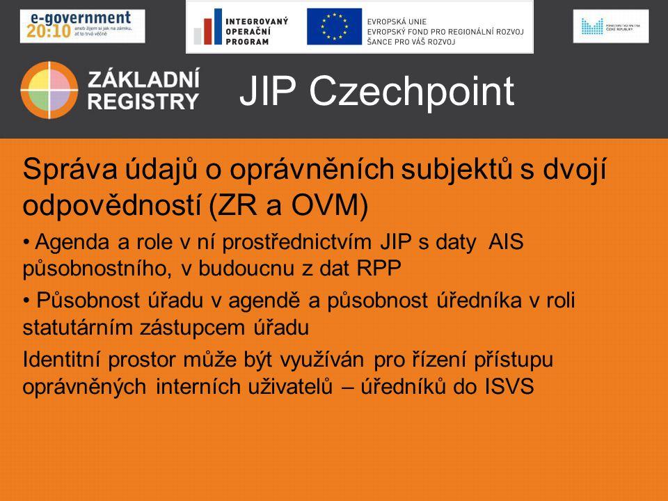 JIP Czechpoint Správa údajů o oprávněních subjektů s dvojí odpovědností (ZR a OVM)