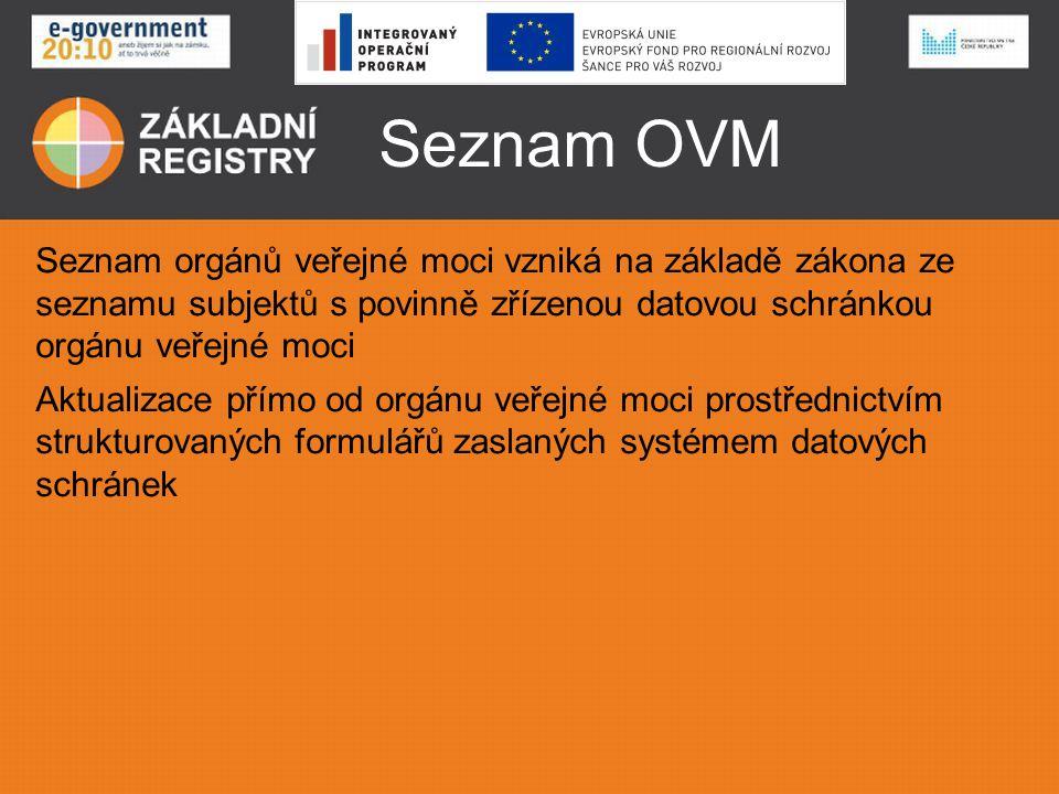 Seznam OVM Seznam orgánů veřejné moci vzniká na základě zákona ze seznamu subjektů s povinně zřízenou datovou schránkou orgánu veřejné moci.