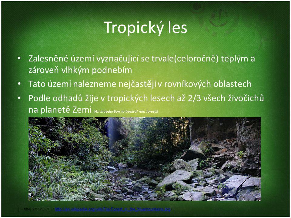 Tropický les Zalesněné území vyznačující se trvale(celoročně) teplým a zároveň vlhkým podnebím.