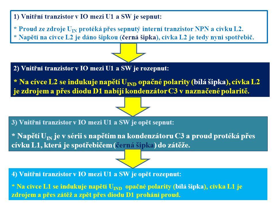 1) Vnitřní tranzistor v IO mezi U1 a SW je sepnut: