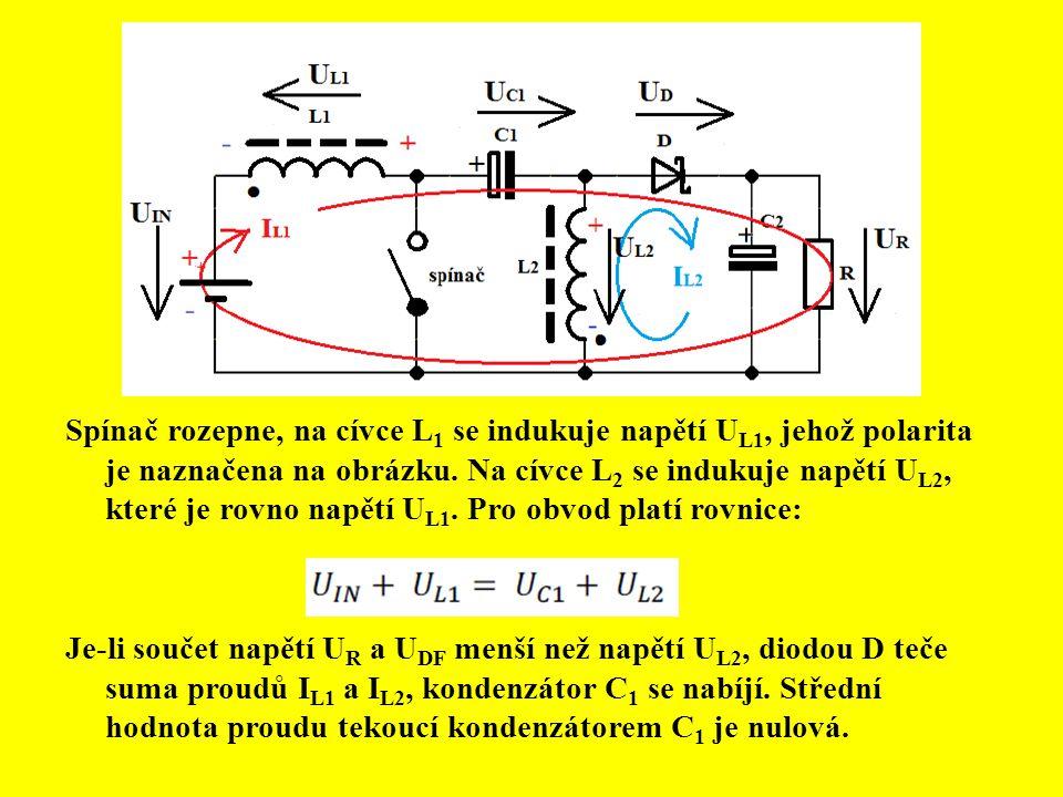 Spínač rozepne, na cívce L1 se indukuje napětí UL1, jehož polarita je naznačena na obrázku. Na cívce L2 se indukuje napětí UL2, které je rovno napětí UL1. Pro obvod platí rovnice: