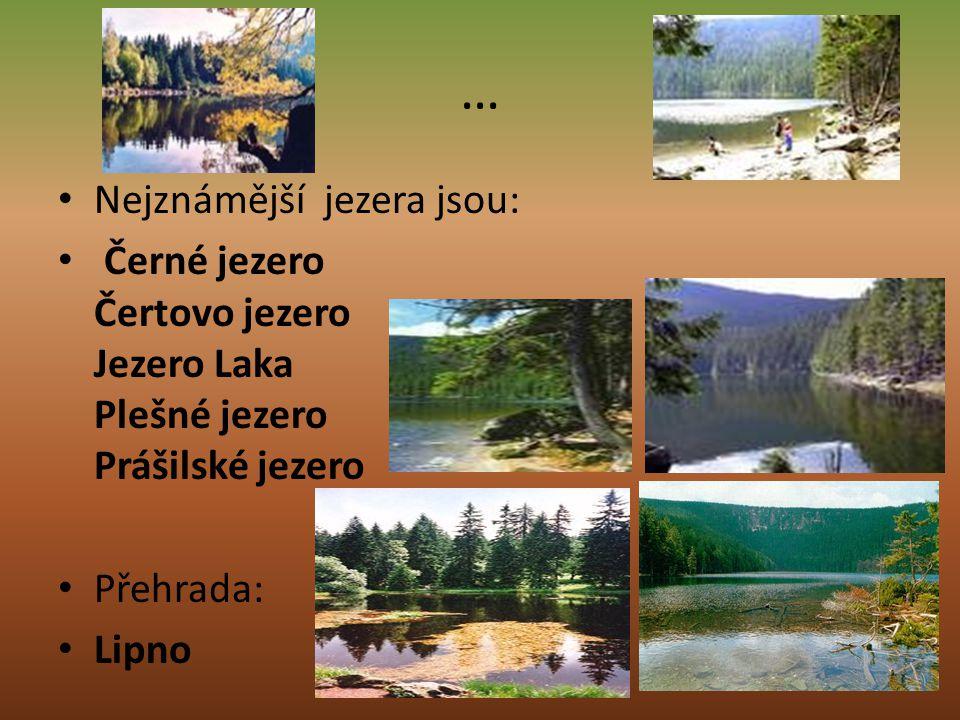 … Nejznámější jezera jsou: