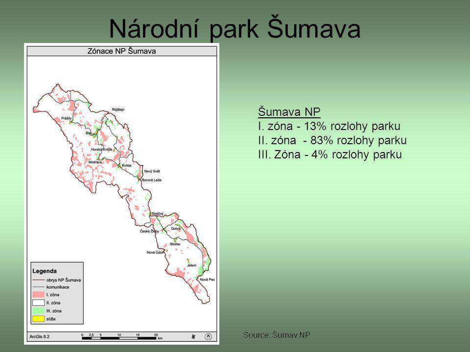 Národní park Šumava Šumava NP I. zóna - 13% rozlohy parku
