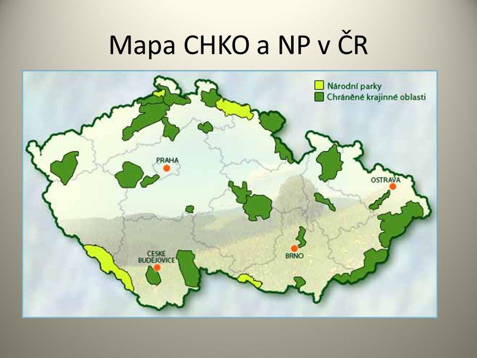 Mapa CHKO a NP v ČR