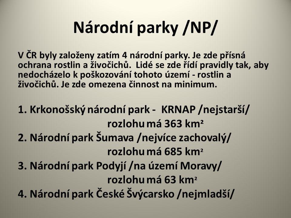 Národní parky /NP/ 1. Krkonošský národní park - KRNAP /nejstarší/