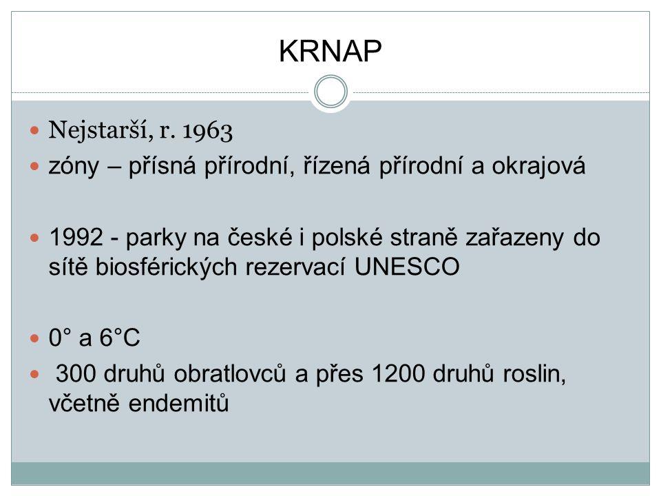 KRNAP Nejstarší, r. 1963. zóny – přísná přírodní, řízená přírodní a okrajová.