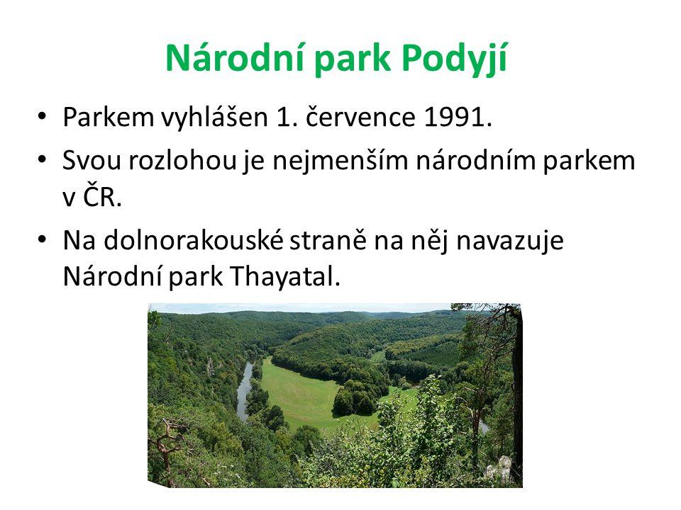 Národní park Podyjí Parkem vyhlášen 1. července 1991.