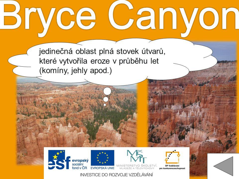 Bryce Canyon jedinečná oblast plná stovek útvarů, které vytvořila eroze v průběhu let (komíny, jehly apod.)