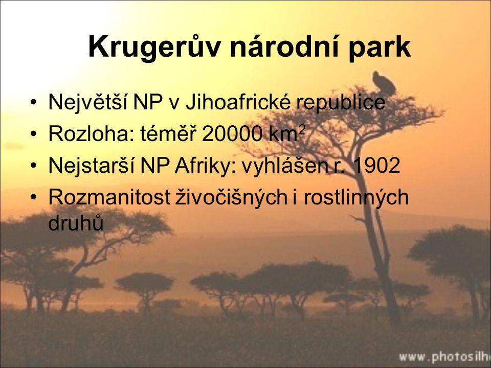Krugerův národní park Největší NP v Jihoafrické republice
